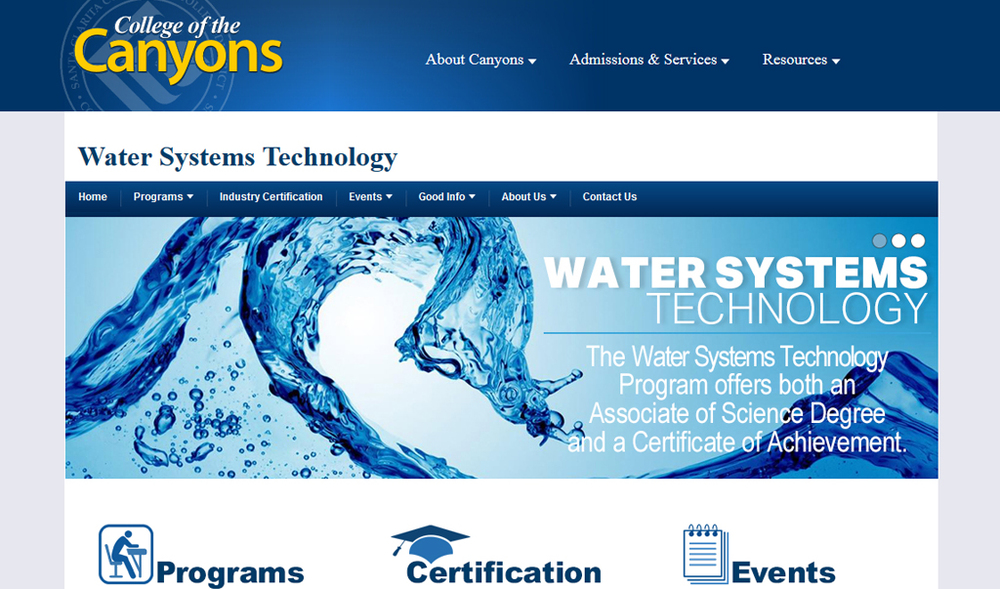 College of the Canyons | Water Systems Technology