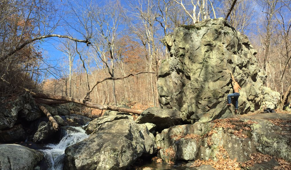 Bouldering at White Oak Canyon back in Fall, Shenandoah