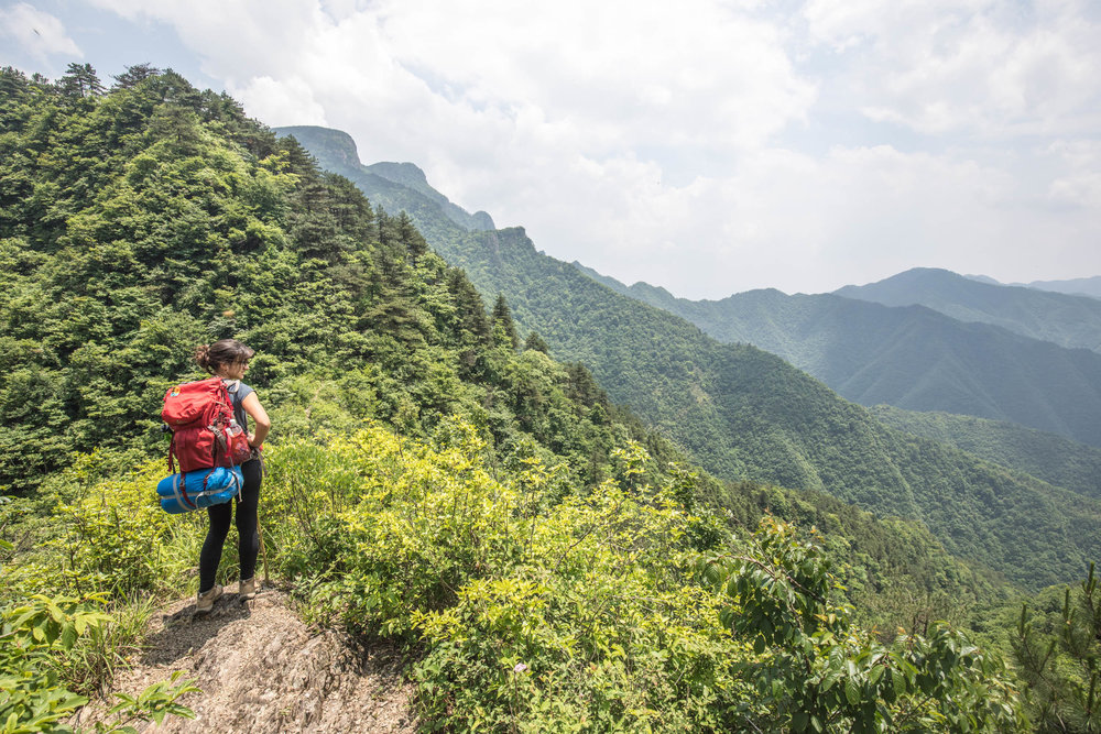 Climbing Qingliang Feng Mountain in East China