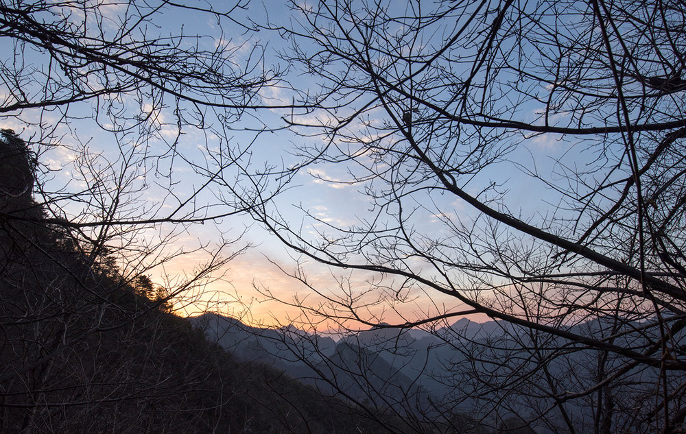 Sunset from the trail, Qingliang Feng, China