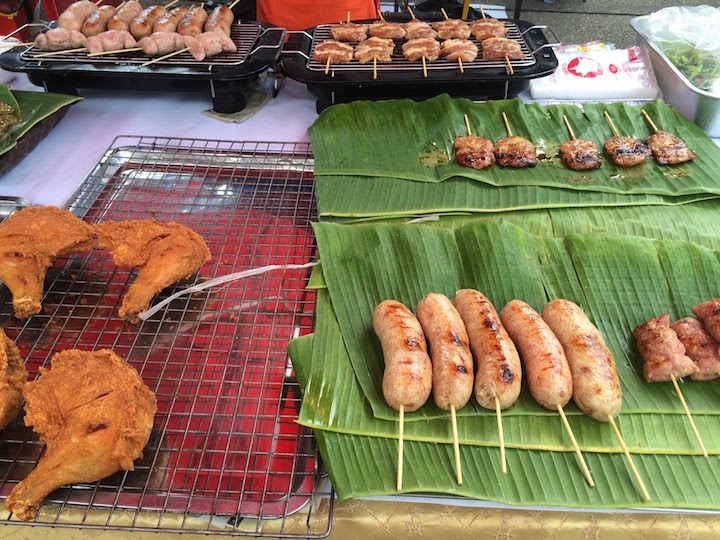 Our go-to snack while in Thailand: Fresh grilled pork cutlets at the Sunday Night Market Walking Street outside of the Tha Pae Gate.