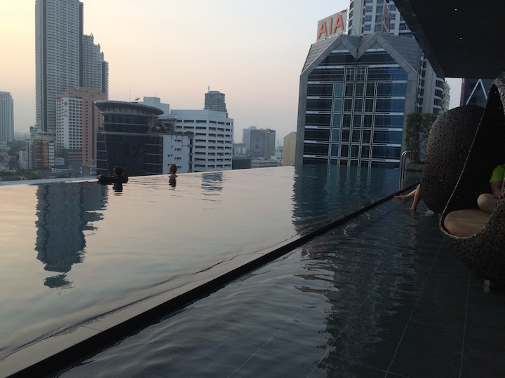 The surreal and beautiful Grand Eastin infinity pool overlooking the city of Bangkok.