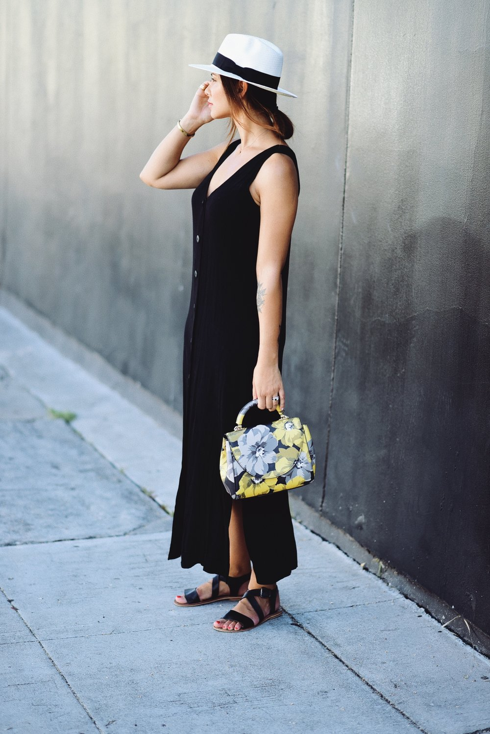 You can find my dress here (similar here & here) Hand hat here (similar here) Sandals are from a Swedish brand India (but you can get similar ones here!)