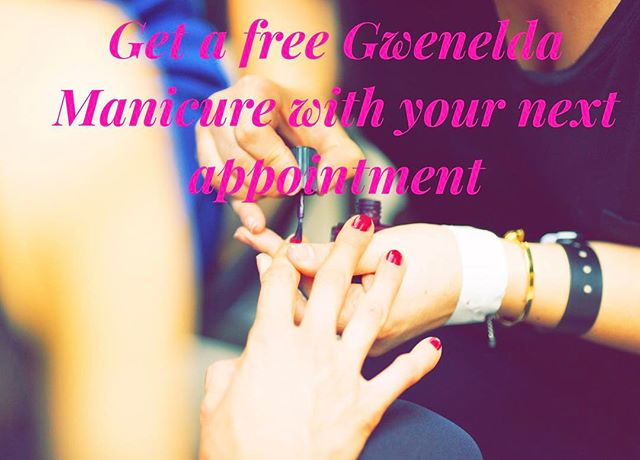 !!! Special offer !!! 🎉🎉Get a free Gwenelda Manicure 💅with your next appointment 🎉🎉 All you need to do is introduce a friend and get them to book a Gwenelda treatment in excess of £30!  Hurry up ! 💥Offer ends on the 4th of June! 💥💥 Email us at bookings@gwenelda.com with yours and your friend's treatment choices!!!