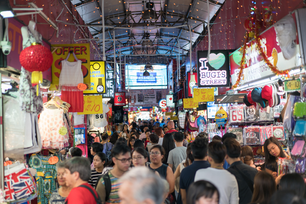 DID WE MENTION SHOPPING?   Bugis doesn't just have lots of Malls but is well known for  pasar malan  style shopping where you can sample diverse and delicious street food and shop for clothing and all kinds of souvenirs and knick knacks.