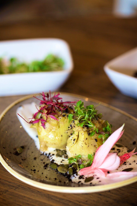 1.jpg-ALCACHOFAS CON JAMON Sauteed artichokes hearts, ham, cassava puree, black olives sand .jpg