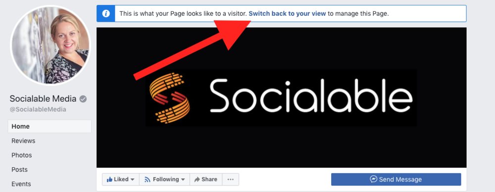 How view your facebook page as admin