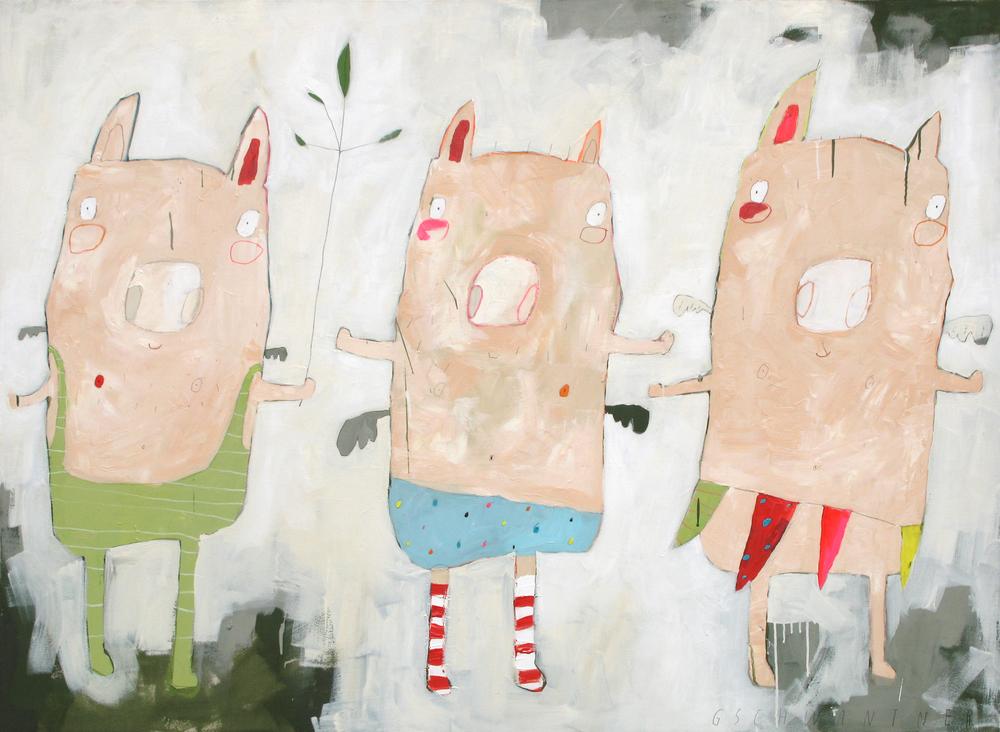Beflügelte Ringelstrumpfschweine, 2009, 170 x 130