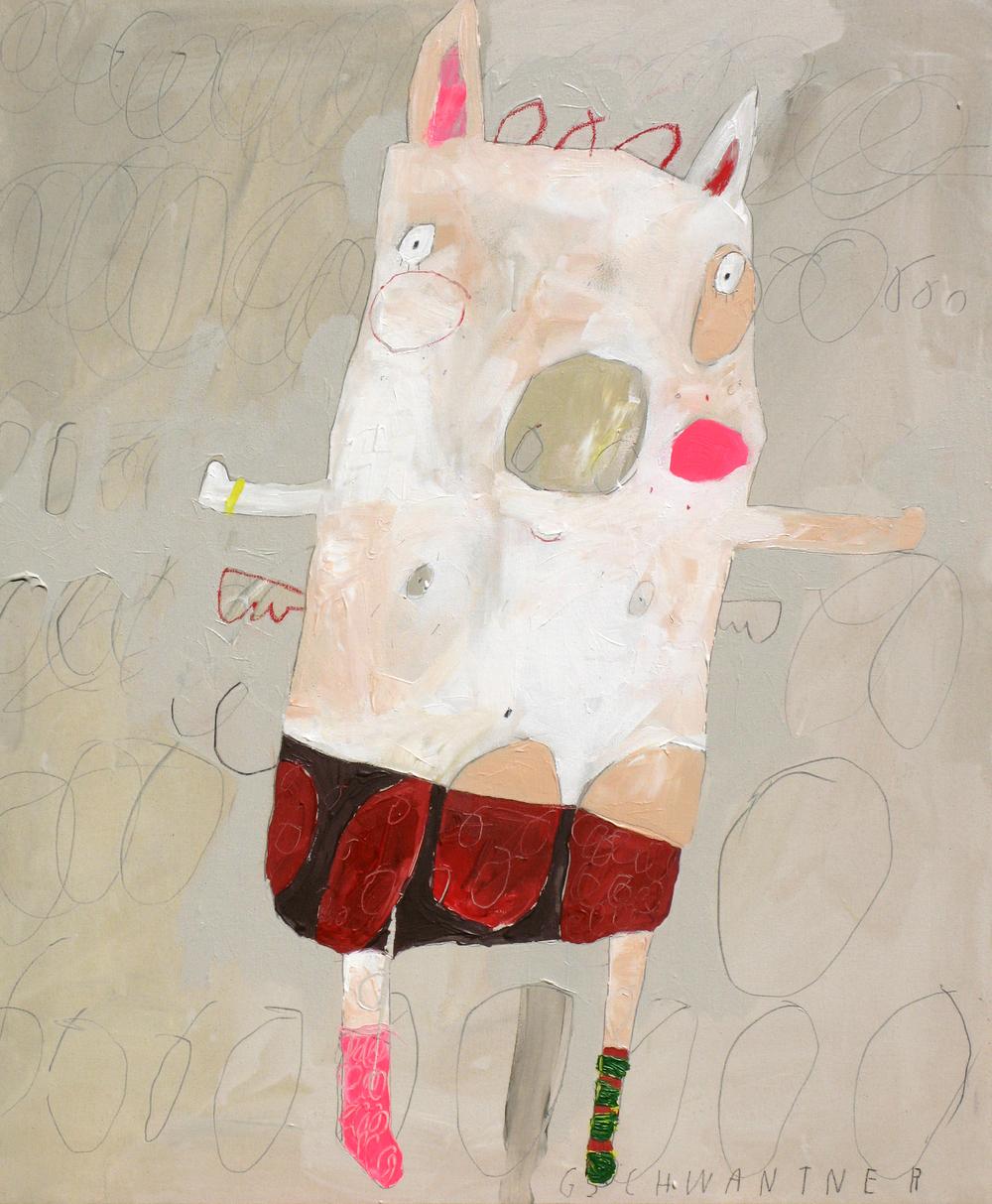 Ringelstrumpfschwein, 2009, 78 x 94