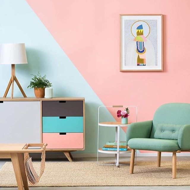 Colour heaven in this collab between @clickonfurniture and @britishpaints featuring my Totem Orb print 👌