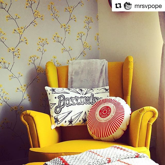 #Repost @mrsvpope ・・・ Our @jillkirkham #Barrowland pillow is perfect on my favourite chair 💛 Thank you @braw_wee for ordering us it in.  #jillkirkham #barrowland #teacake #glasgow #myinstahome #myhshome #myHShome