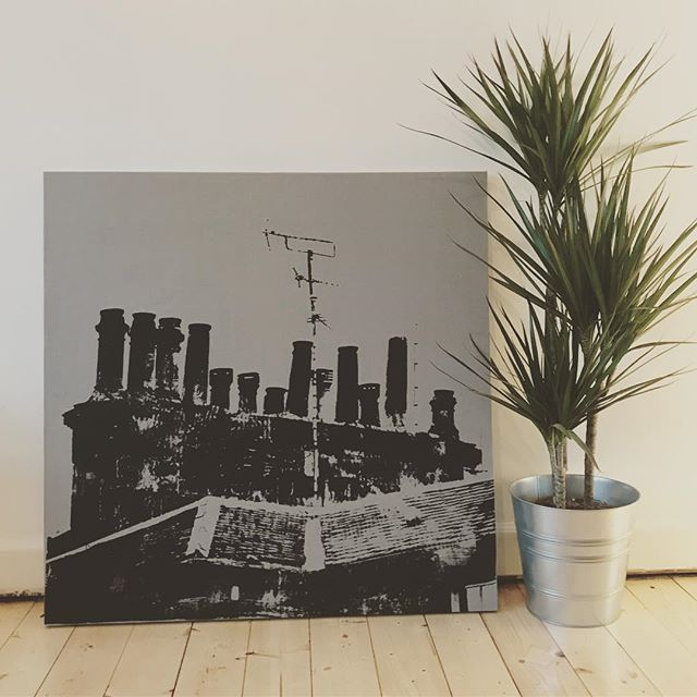 It's been fun day making big prints again, getting ready for Christmas. #glasgow #chimneys #screenprint #blackandgrey #shopsmall #jillkirkham #scotland #madeinglasgow