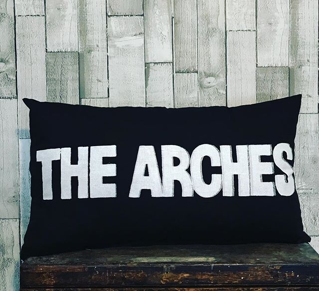 The Arches was my favourite club in Glasgow.  This iconic venue has played host to many of the worlds best DJ's and live acts.  I spent my 19th birthday at Pressure dancing to Josh Wink and X-Press2, it was an amazing time.  This cushion has  silver and white print on black cotton.  Measures 50 x 35 cm and has a zip fastening on the back.  Hollowfiber cushion pad included.  All products are individually screen printed and produced in my Glasgow Design Studio.  The production time will be a maximum of one week before shipping. #thearches #glasgow #pressure #insideout #trade #freefall #shoplocal #slam #thearchesglasgow #jillkirkham