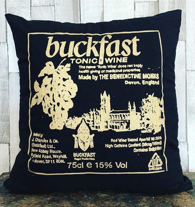 Buckfast Tonic Wine is a caffeinated fortified wine originally made by monks at Buckfast Abbey in Devon.  But is also Scotland's unofficial national drink.  This cushion has a Gold print on black cotton.  Measures 18 x 18 inches and has a zip fastening on the back.  Hollowfiber cushion pad included.  All products are individually screen printed and produced in my Glasgow Design Studio.  The production time will be a maximum of one week before shipping.  http://jillkirkham.co.uk/cushions/buckfast-cushion  #buckfast #madeinglasgow #itstheweekend #interiordesign #scotland #buckfasttonicwine