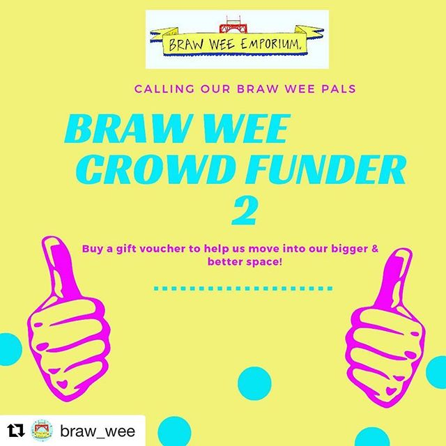 #Repost @braw_wee with @get_repost ・・・ We've got big news and we are looking for some help from our Braw Wee Pals! We are moving to new bigger premises here in the Barras that will let us do tons of exciting things, Stock more lovely things and open more hours! We have launched a gift voucher crowd funder to help us raise some pennies to be able to sort out our fixtures & fittings, new stock etc! Check out the website for details! #crowdfunder #glasgowsmilesbetter #shoplocal #glasgowshopping #thebarras #barras #scottishbrands #Scotland #scottishmakers #glasgow #madeinscotland #style #musthave #emporium #retail #shoplocalglasgow #scottishshopping #madeIscotland #calton #creativescotland #scottishgifts #giftsfromscotland #shopaholics #craftscotland #retailer #ecommerce #visitglasgow #peoplemakeglasgow #glasgowmarkets