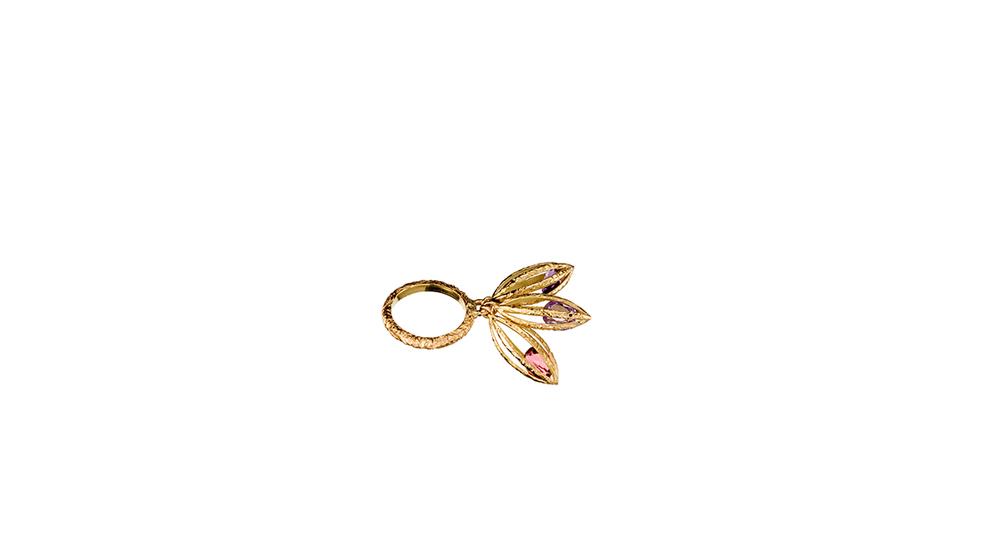 Bague, tourmaline rose et or jaune 18 carats.