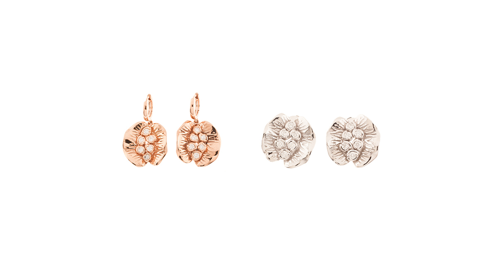 Dormeuses, diamants et or rose 18 carats | Boucles d'oreilles, diamants et or blanc 18 carats.
