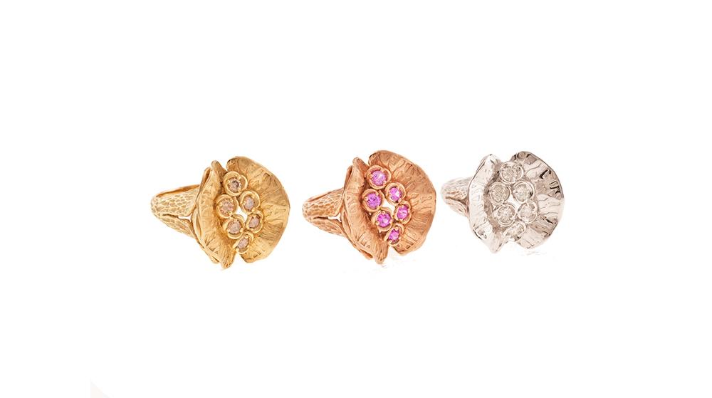 Bagues king, diamants et saphirs roses sur or jaune rose et blanc 18 carats
