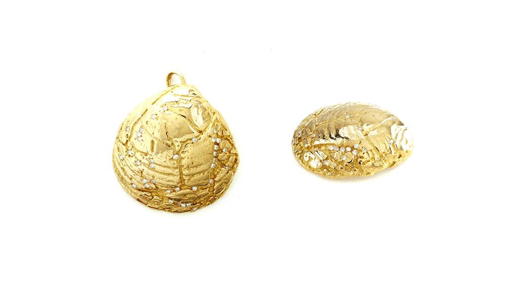 Pendentif, diamants et or jaune 18 carats.