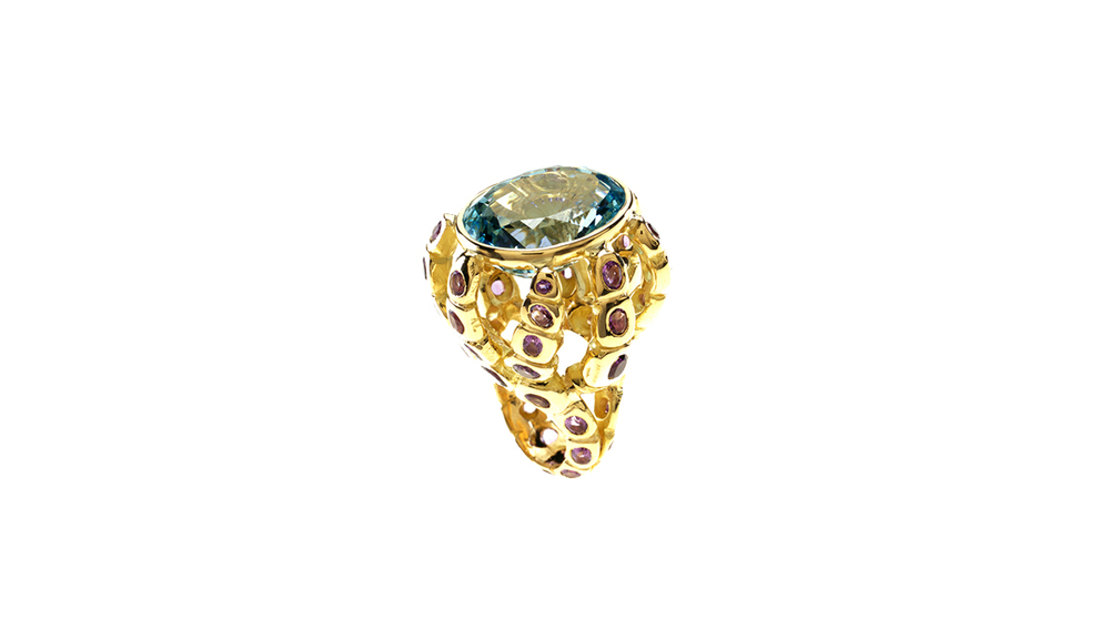 Bague octopus, aigue-marine et tourmaline rose, or jaune 18 carats.