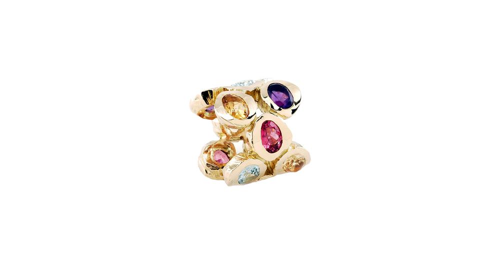 Bague, pierres semi-precieuses multicolore et or jaune 18 carats