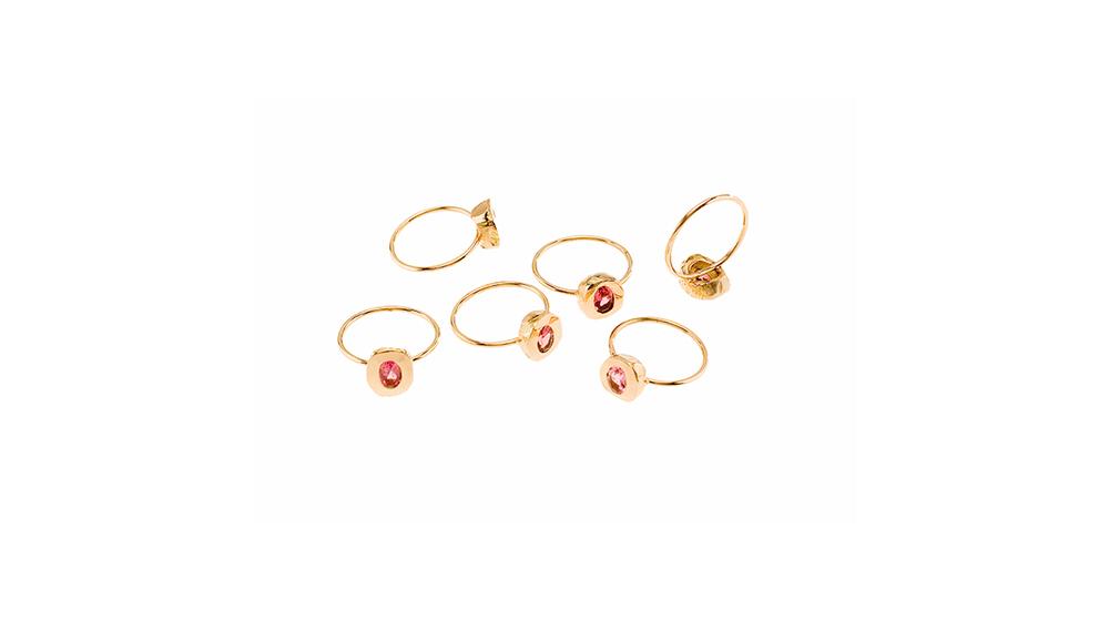 Bagues pécadilles, tourmaline rose et or jaune 18 carats