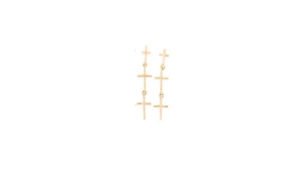 Boucles d'oreilles 3 croix, or jaune 18 carats