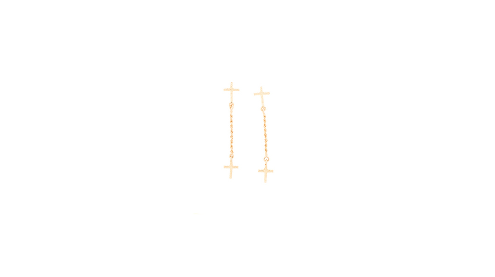 Boucles d'oreilles croix sur chaine, or jaune 18 carats.