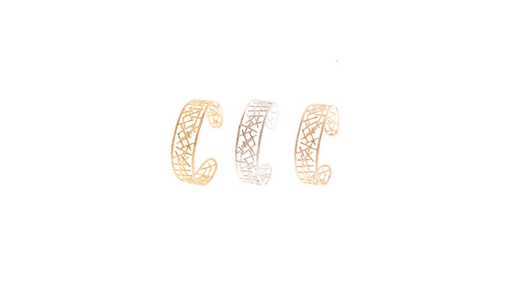 Bracelet, or jaune, blanc et rouge 18 carats