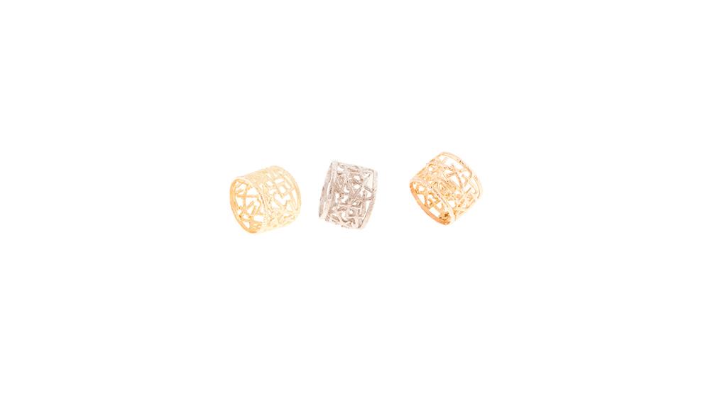 Bagues 'Jonc' or jaune, blanc et rouge 18 carats.