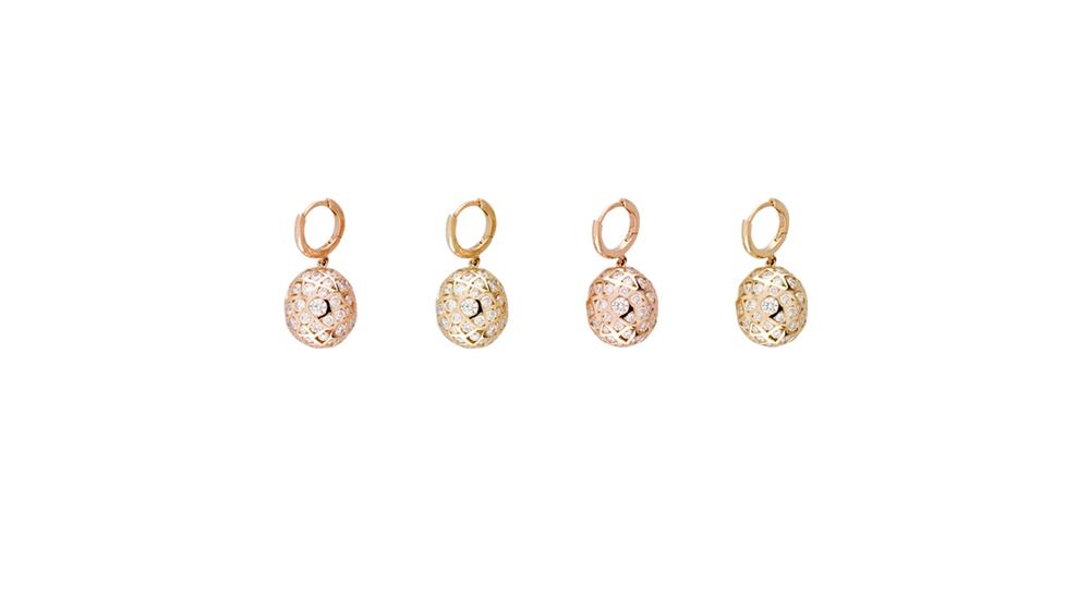 Boucles d'oreilles, diamants ors rose et jaune 18 carats.