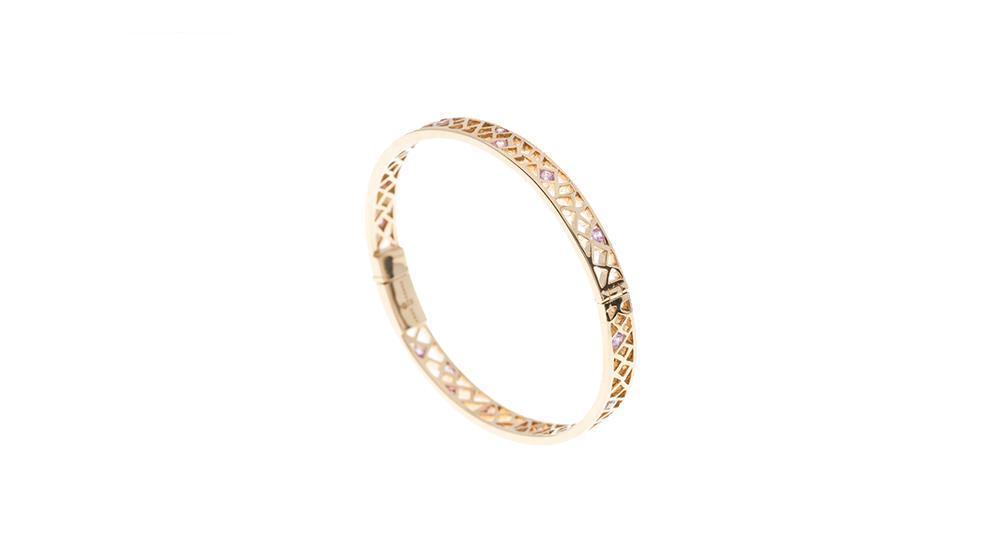 Bracelet, saphirs roses et or jaune 18 carats.