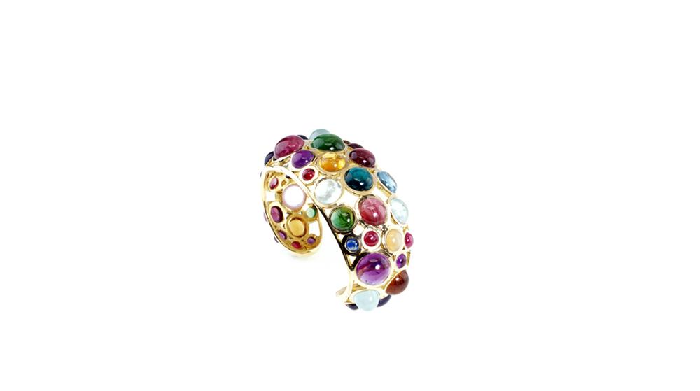 Bracelet Planète, cabochons de pierres semi-précieuses.