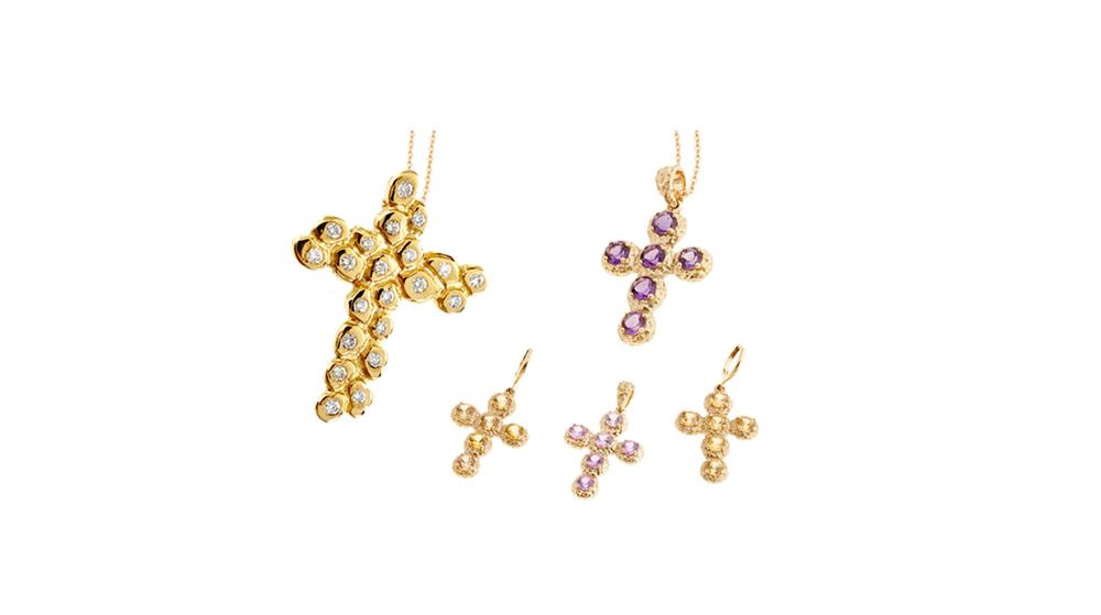 Pendentif Pépite sur chaine, diamants et or jaune 18 carats|  Pendentifs et boucles d'oreilles Noémie, saphirs roses et jaune, améthyste.