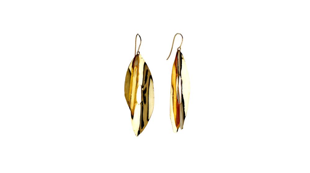 Boucles d'oreilles plume, or jaune 18 carats