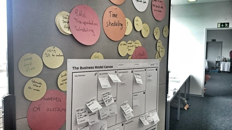 Business model canvas by Strategyzer in use at ActInSpace Darmstadt. Credit: Spaceoneers/Deisgn & Data GmbH