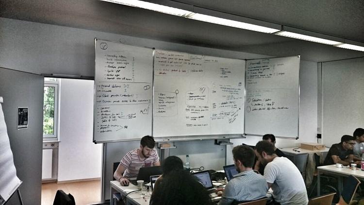 Teams hard at work at ActInSpace Darmstadt. Credit: Spaceoneers/Design & Data GmbH