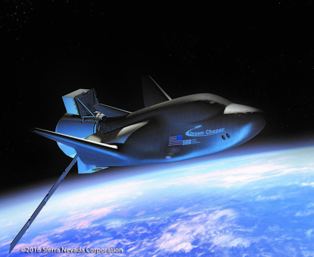 An artist's conception shows Sierra Nevada Corp.'s uncrewed version of the Dream Chaser space glider in orbit with a cargo module attached at the back. (Credit: Sierra Nevada Corporation)