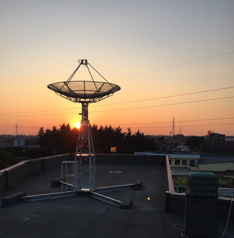 Ground station in Milan at sunset. Image credit: Leaf Space
