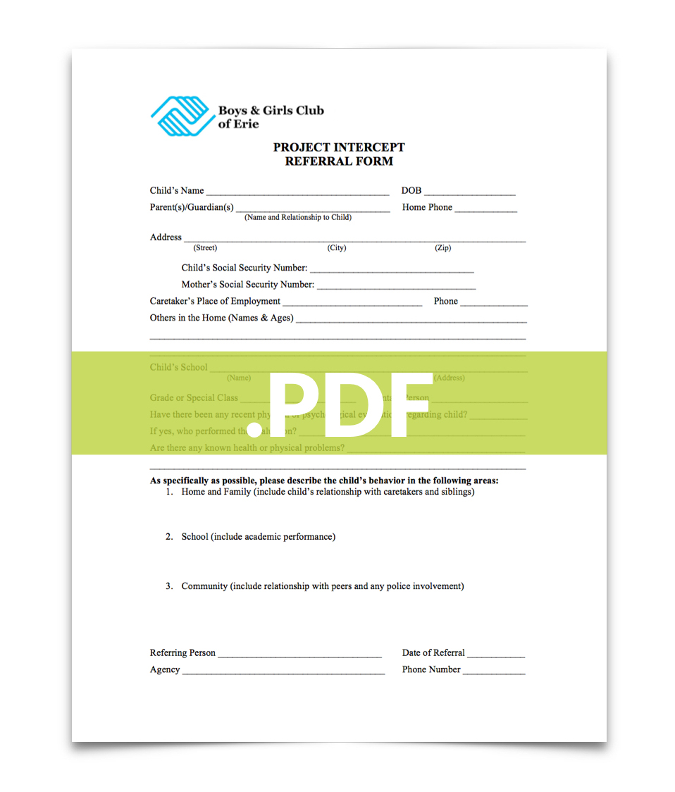 Click here to download a  PDF  of the  Project Intercept Referral Form