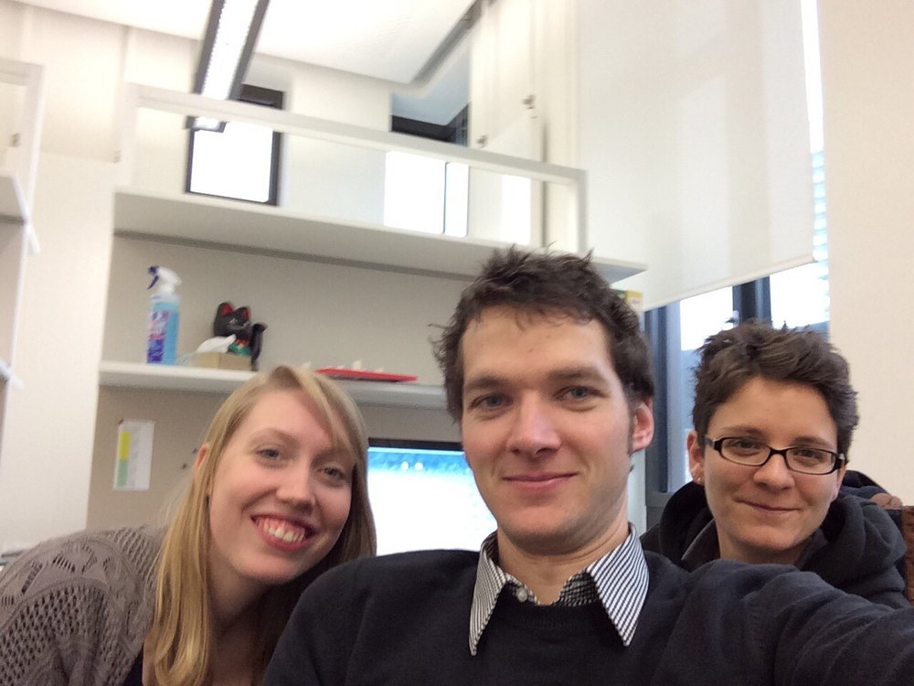 The team in late 2014: Kira, Moritz, Ruth