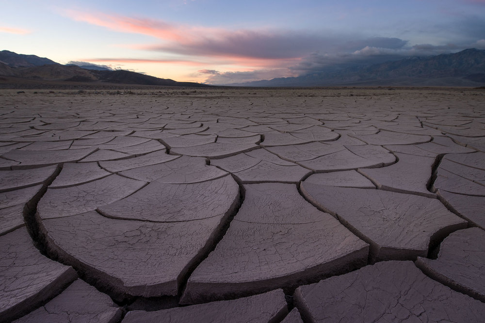 Mud cracks at sunrise