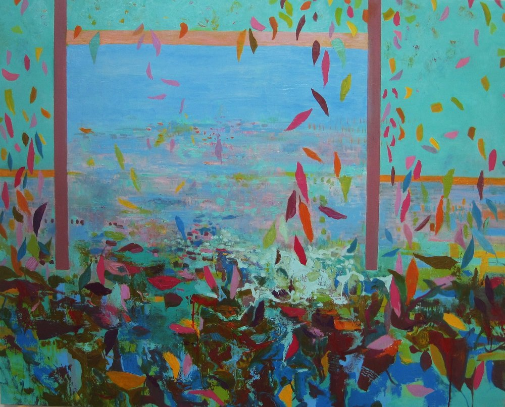SUMMER INTO AUTUMN  (or FALLING LEAVES)  120x  250 cm oil on canvas   SOLD