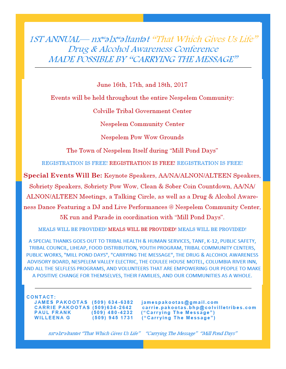 4th annual sobriety conference � colville tribes