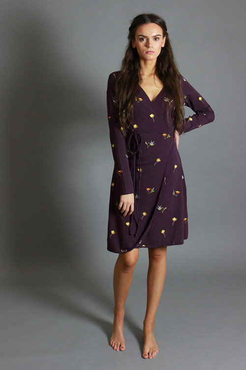 75369c2d513 Dark Purple Floral Embroidered Wrap Dress