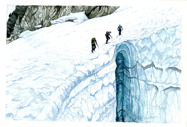 Skirting the Crevasse is a watercolor inspired by my field sketches and experience working on North Cascade glaciers in Washington. Here three members of the North Cascade Glacier Project, including my father Dr. Mauri Pelto, founder and expedition leader, my brother Ben Pelto, and field assistant Justin Wright are depicted hiking around a gaping crevasse on Lynch Glacier, Mt. Daniel.