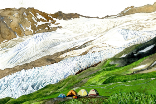 Camp on Heliotrope is a watercolor inspired by my field sketches and experience working on North Cascade glaciers in Washington with the North Cascade Glacier Climate Project. We study a group of glaciers in the range to monitor their retreat and changes in stream flow. This camp is on Heliotrope Ridge on Mt. Baker, in front of the Coleman and Roosevelt Glaciers.
