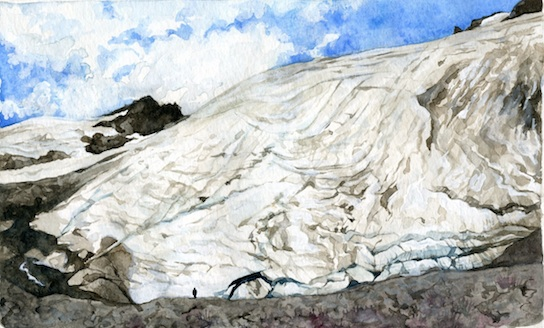 Sholes Glacier Retreat is a watercolor inspired by my field sketches and experience working on North Cascade glaciers in Washington with the North Cascade Glacier Climate Project. The small figure seen is at the 2015 terminus of the glacier, and the image is painted from the 1984 terminus location.