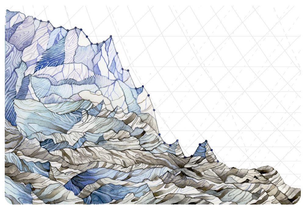 I created a series about some of the major impacts of global warming that I witnessed in Washington State this summer, using scientific data to show how the drought is devastating the state.   Decrease in Glacier Mass Balance  uses measurements from 1980-2014 of the average mass balance for a group of North Cascade, WA glaciers. Mass balance is the annual budget for the glaciers: total snow accumulation minus total snow ablation. Not only are mass balances consistently negative, they are also continually decreasing.  Reference: http://blogs.agu.org/fromaglaciersperspective/2015/08/20/disastrous-year-for-north-cascade-glacier-mass-balance-snowice-economy