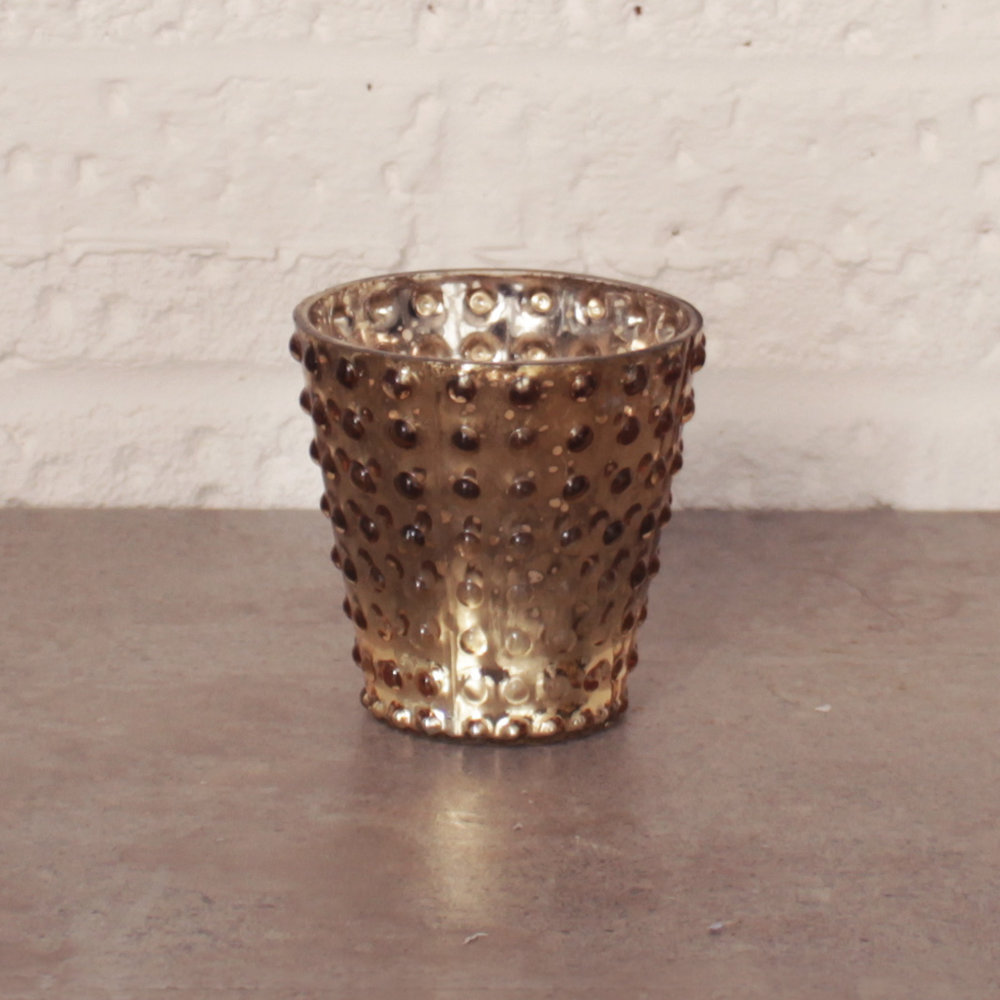 GOLD BOBBLE CANDLE HOLDERS £1.50